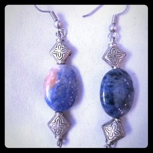 Stunning blue stone with orange accents earrings!
